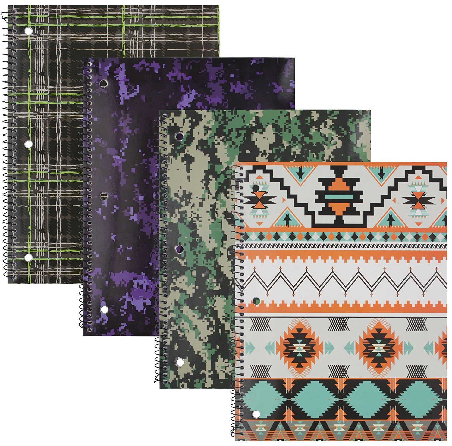 Emraw Heritage Notebook Spiral with 60 Sheets of Wide Ruled White Paper - Set Includes: Green Plaid, Tribal, Green Camo & Blue/Purple Camo Covers (4 Pack)