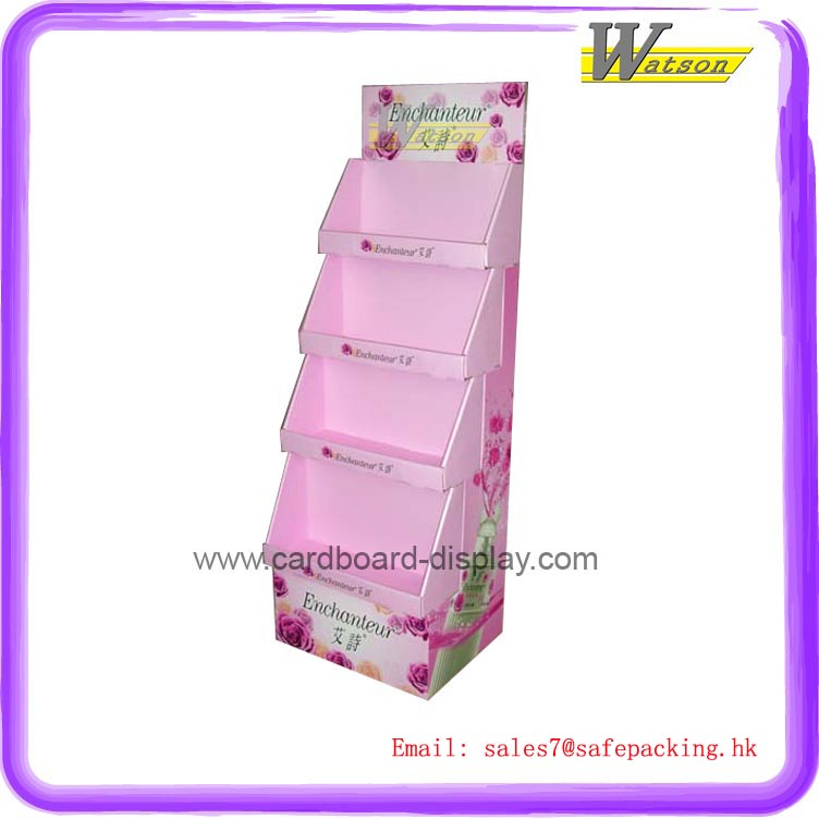 supermarket and retail store free floor standing cardboard display shelf for cosmetic