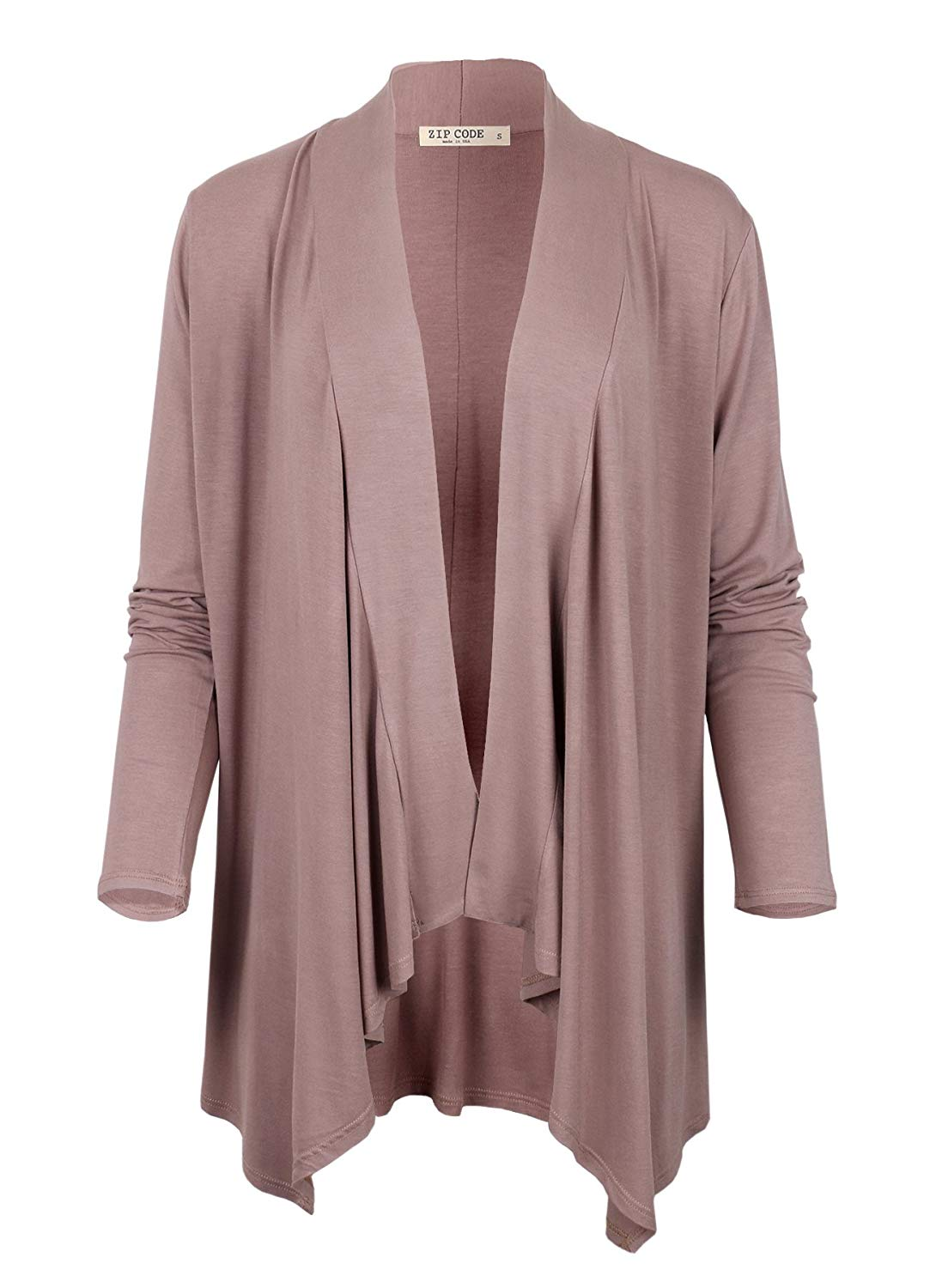 ZIP CODE Women's Draped Cardigan with Long Sleeves (Made in USA)