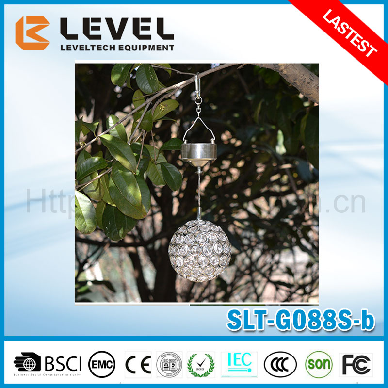 Solar Powered Crackle Sphere LED Hanging Lamp Wayside Landscape Light With 7 Colors