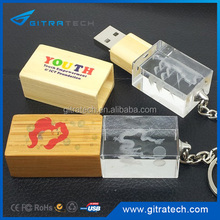 Bamboo Maply Transparent Crystal Reflective Usb With 3D Custom Engraving Logo Inside