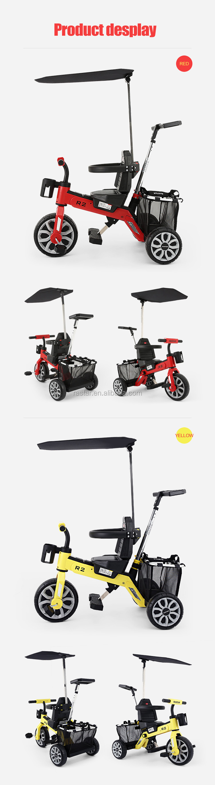 RASTAR factory wholesale multi-functions bike folding tricycle for kids 1-6 years