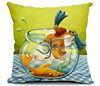 2015 China factory supplies alibaba selling well 100% cotton fashion high quality fish Custom Made Throw Pillow