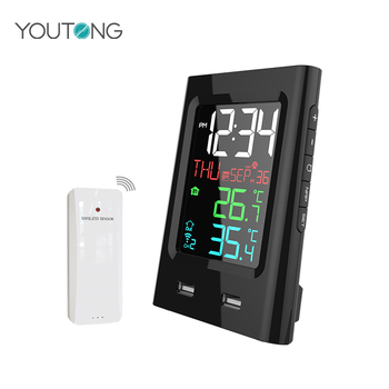 YT60165-2 Vertical Wireless Color 2 USB Weather Station , Indoor Outdoor Thermometer Wireless