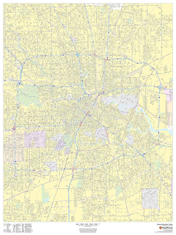 Texas ZIP Codes Houston 48 x 36 Laminated Wall Map webdmedia.com