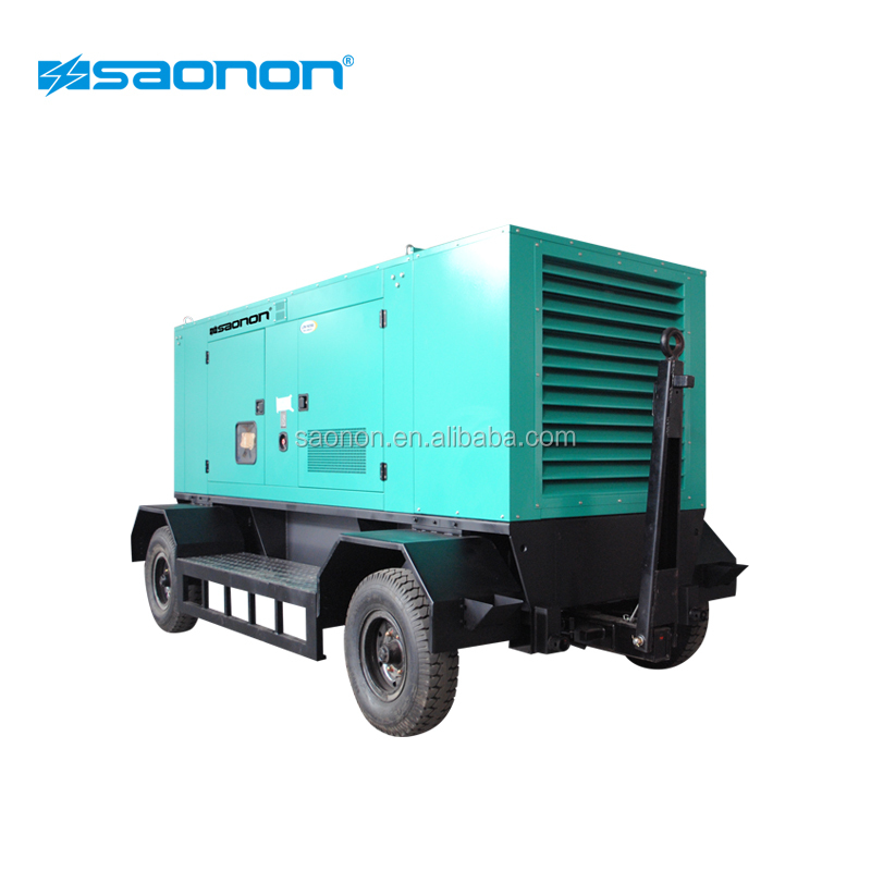 Hai bánh xe 100kva trailer máy phát điện với AC đặt ra loại