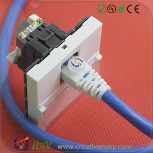 Wall Mount One Piece Integrated RJ45 Keystone Plate