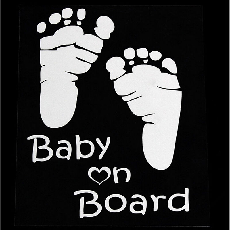 1pcs New Design Cute Letter Baby On Board Baby Footprints
