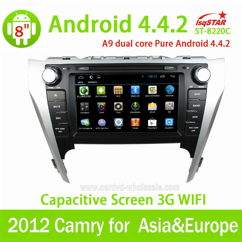 Quad-Core Android 4.4 Car DVD radio for Toyota Camry 2012 Asia&Europ with steering wheel control GPS 3G Wifi mirro link OBD TPMS