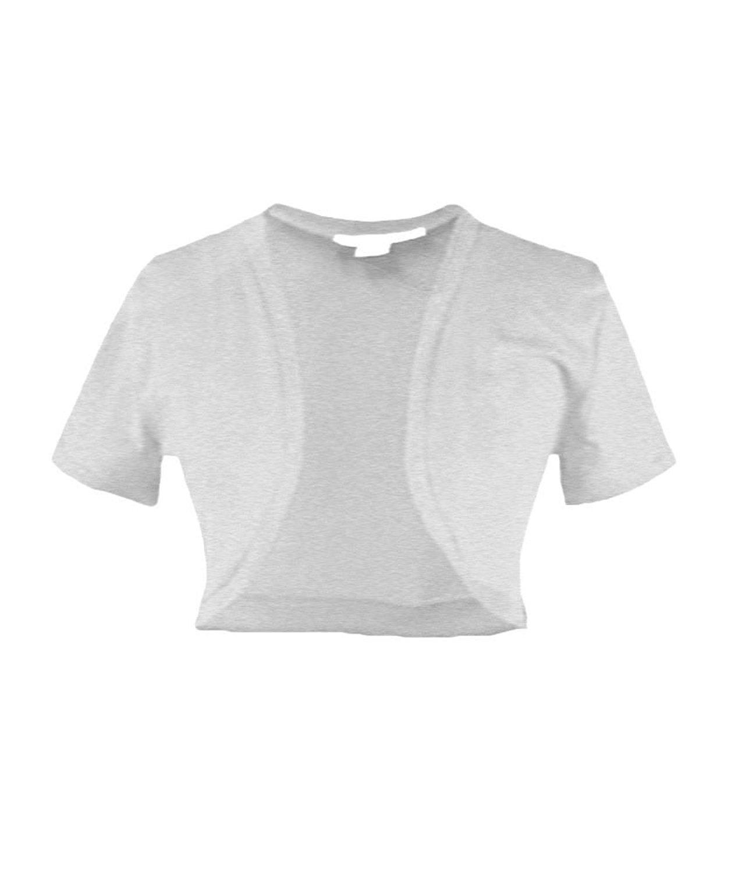53b73c23ef Get Quotations · Solid Cotton Shrug Short Sleeve Open Front Crop Bolero