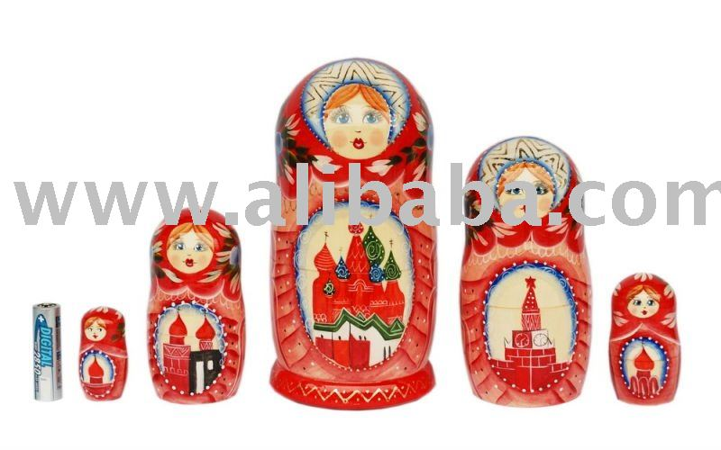 Traditional Matryoshka doll the Red Kremlin