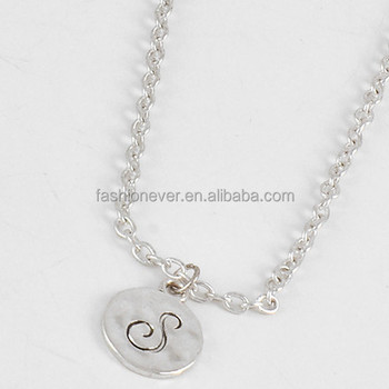 Celebrity style script initial letter s antique silver disc celebrity style script initial letter s antique silver disc pendant necklace mozeypictures Image collections