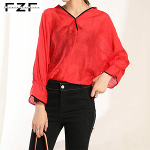 Trendy V neck Plain Crepe Chiffon Red Blouse