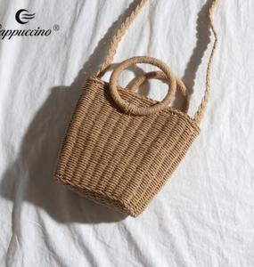 Online shopping cheaper handmade straw bag Recyclable bags with round handle for girl 2019