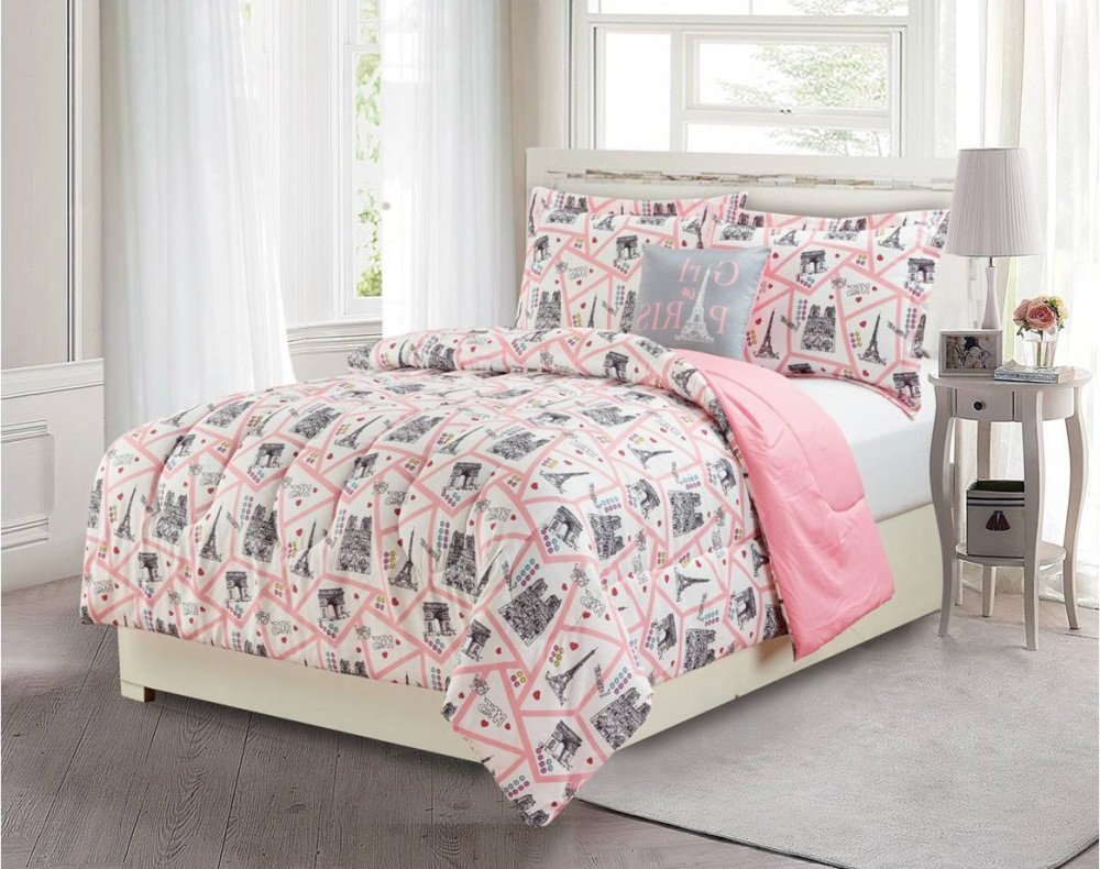 Buy 3 Piece Girls Light Pink Grey I Love Paris Theme Comforter Twin ...