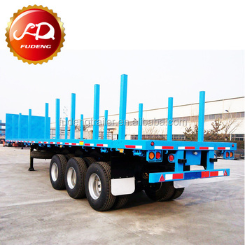 Flat Deck Trailer >> 3 Axles Flat Deck Trailer Log Loader Trailer Used For 40ft Container With Container Locks And Removable Posts Buy Flat Deck Trailer Trailer Used