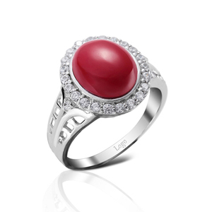 Fancy aaaaa cubic zirconia red coral stone ring model design