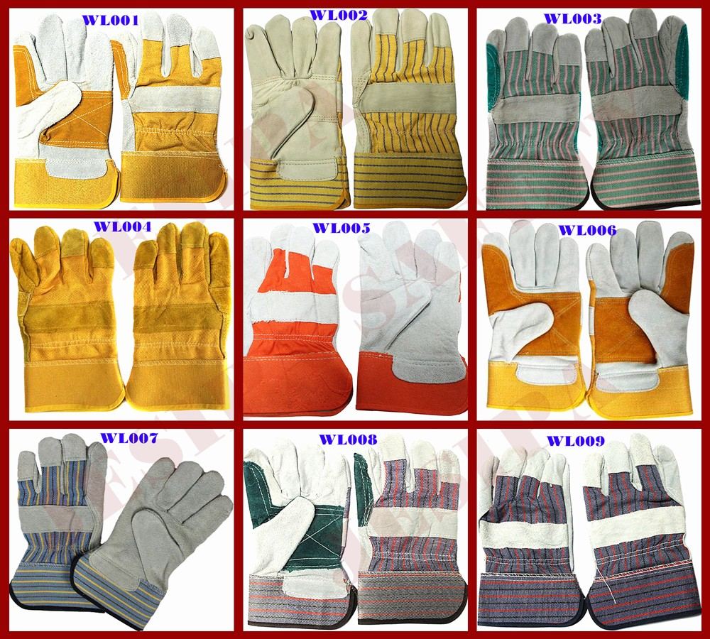 Leather work gloves sale - 2016 Hot Sale Brown Strip Lined Full Palm Best Leather Work Gloves