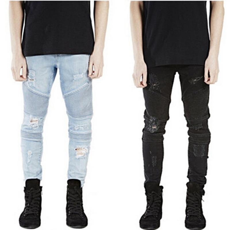 hallo stra e herren zerrissenen fahrer biker jeans. Black Bedroom Furniture Sets. Home Design Ideas