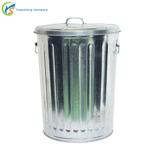 Nature Galvanized Large Metal Trash Bin
