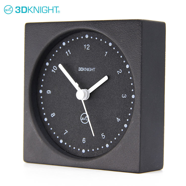 Black Square Side Table Cement Analog Clock