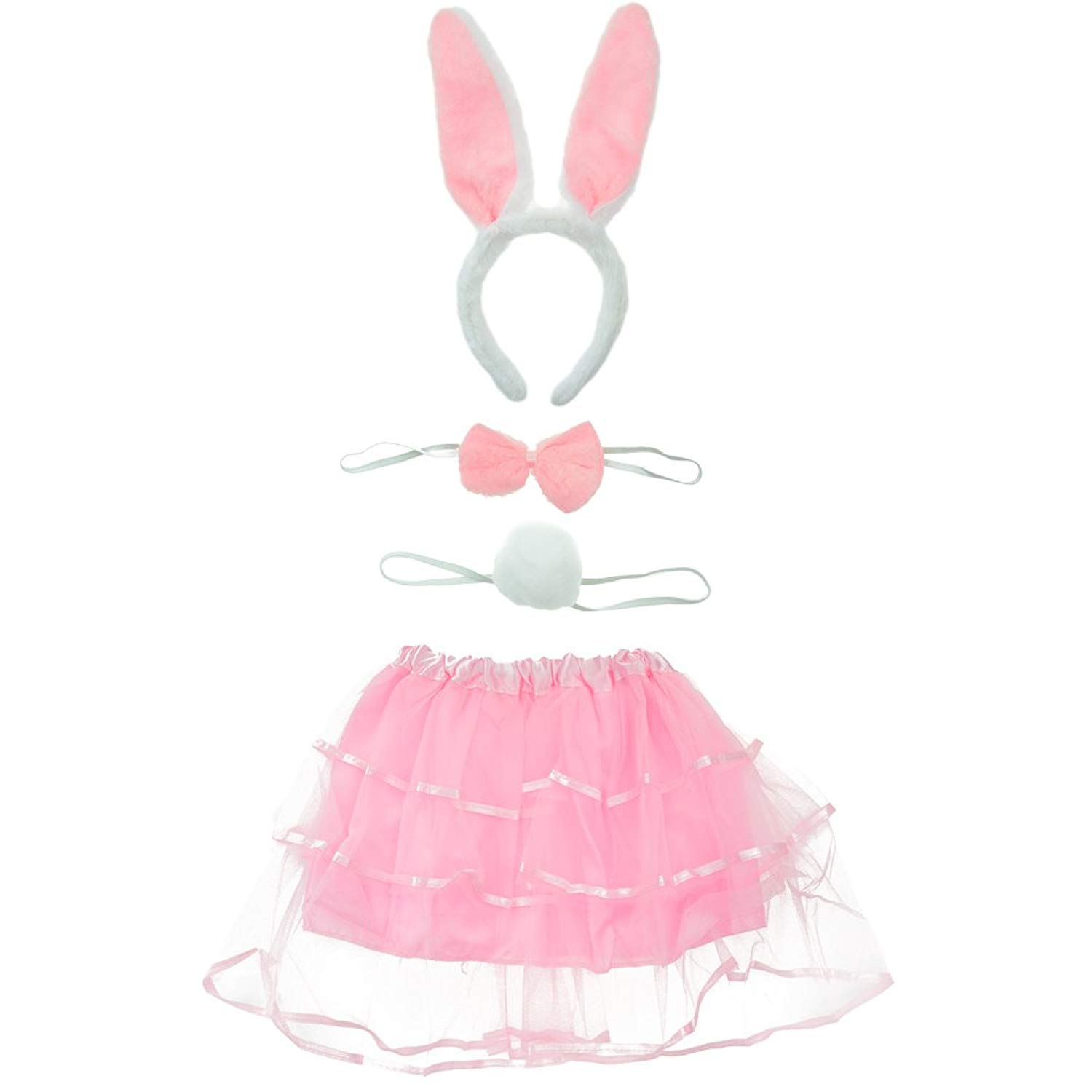 BCP Animals Bunny Rabbit Ears Tail and Bow Tie Cosplay Party Halloween Costume kit Gray