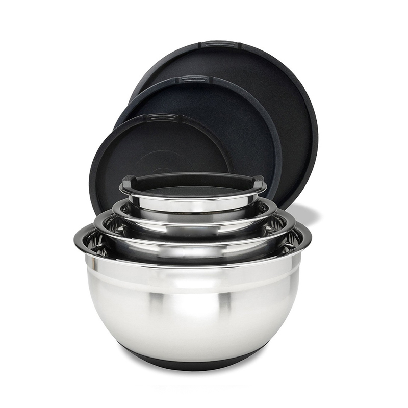 Industrial stainless steel big cake non slip eco friendly salad personalized mixing bowl