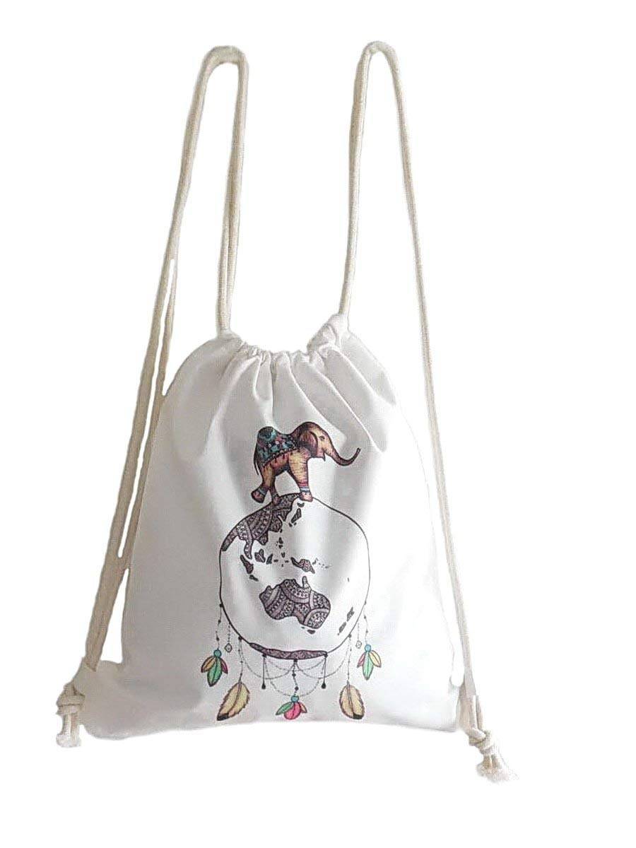 Drawstring Backpack Sport Gym Sack Cinch Bag Boho Elephant Dreamcatcher  Sackpack 2dd0fb23428a5