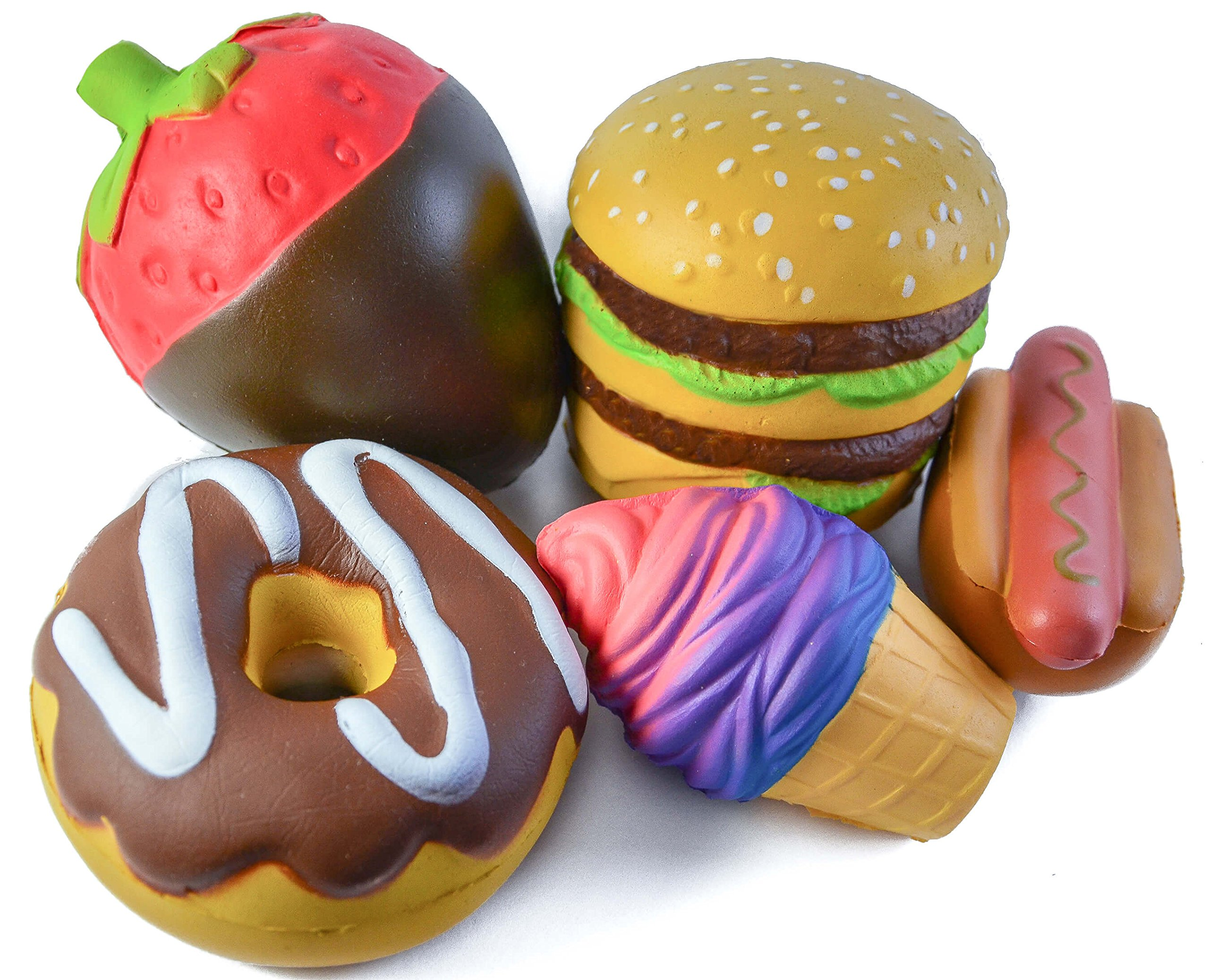 Angry-Wolf Jumbo Squishies 5 Pack | Squishy Ultra Soft & Slow Rising Kawaii Toys | Ice Cream, Strawberry, Donut, Hot Dog, Hamburger | Stress Relief Toy Set | Squeeze Scented Gift For Kids, Adults