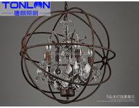2016 unique Lamp E14*8 Loft metal cage rustic iron large size chandelier 8 lights