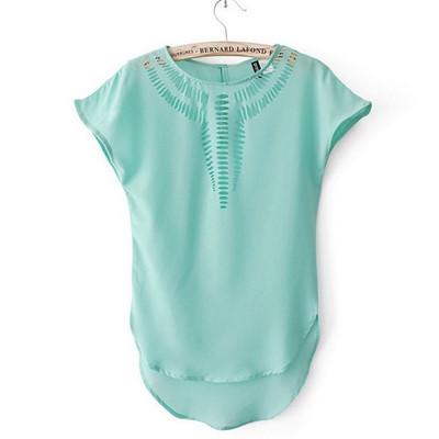 2015 новые футболки женщин мода свободного покроя рубашка с короткими рукавами, Сексуальная шифон майка дешевые топы