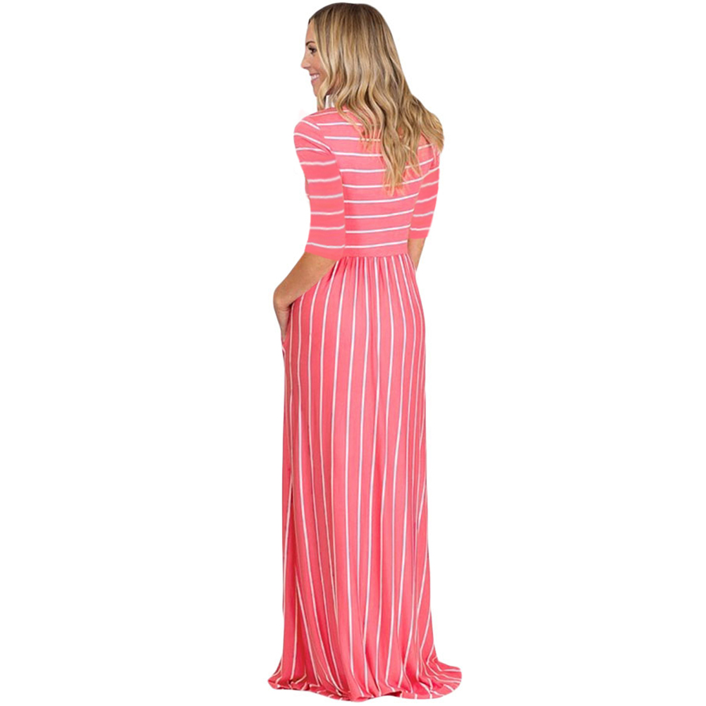 Casual Striped Black Short Sleeve Long Maxi Dress