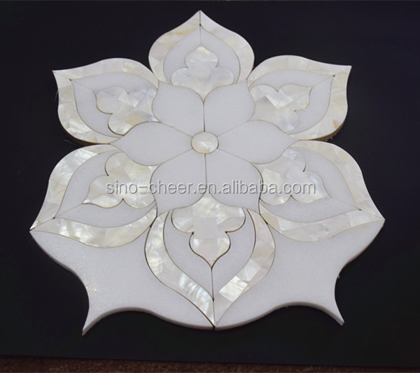 Thassos, Royal White, Mother of Pearl waterjet flower pattern mosaic tile