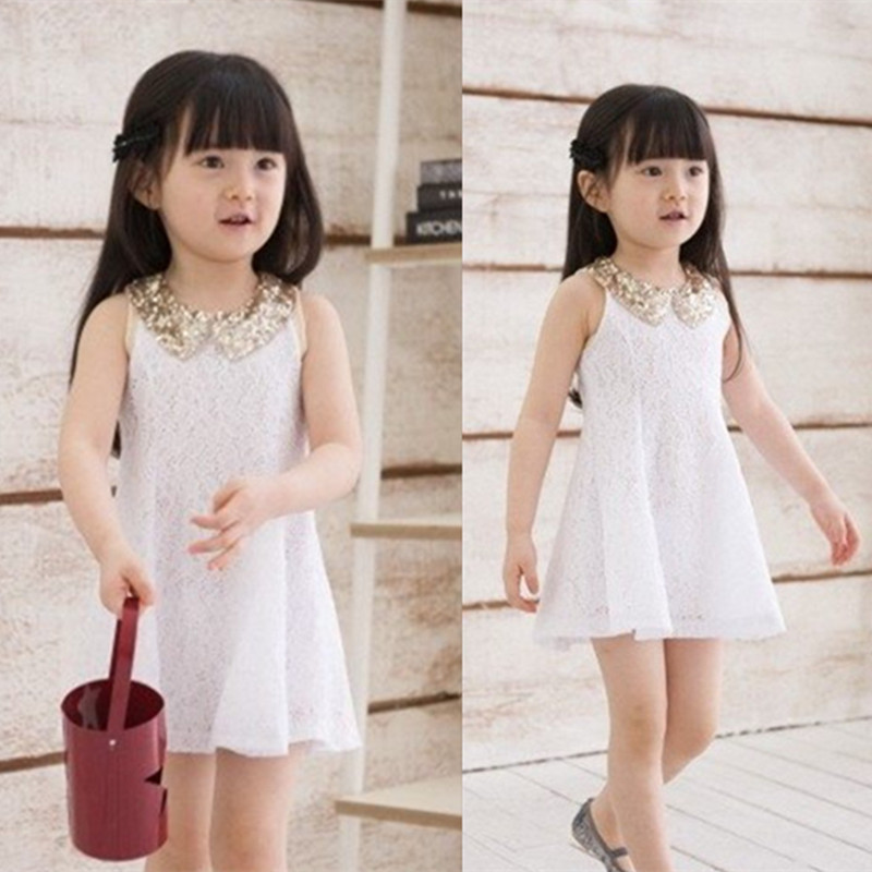 B30012A Baby girl's high-grade lovely and fairy sleeveless sequined collar princess gauze dress