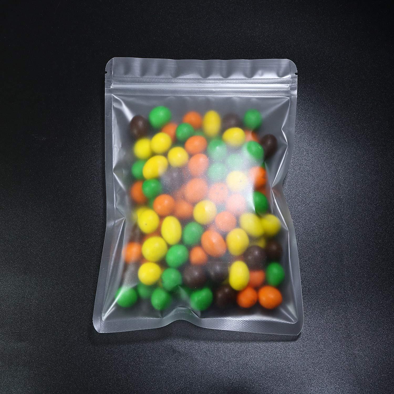 "QQ Studio Translucent Mylar Ziplock Food Storage Packaging Bags (100PCS) (Translucent, 12cm x 20cm (4.7""x7.7""))"