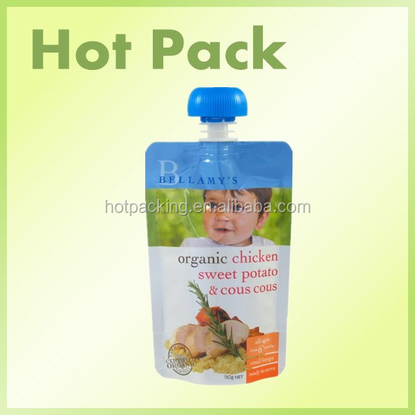 stand up reusable food spout pouch ziplock/baby spout pouch with ziplock and cap/spout pouch kids