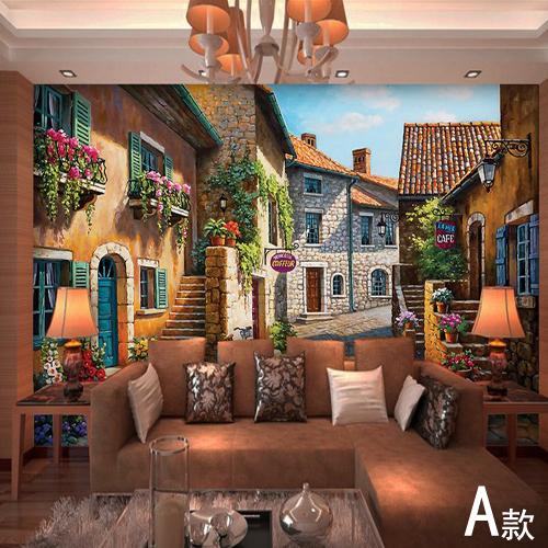 25 Wall Mural Designs: European Town Mural Wallpaper Landscape Full Wall Murals