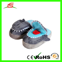 Hot selling cartoon animal super soft slippers grey plush shark slippers for child