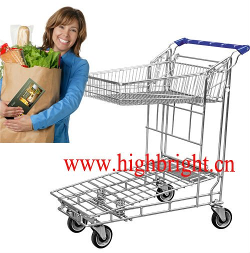 warehouse trolley with a foldable top basket