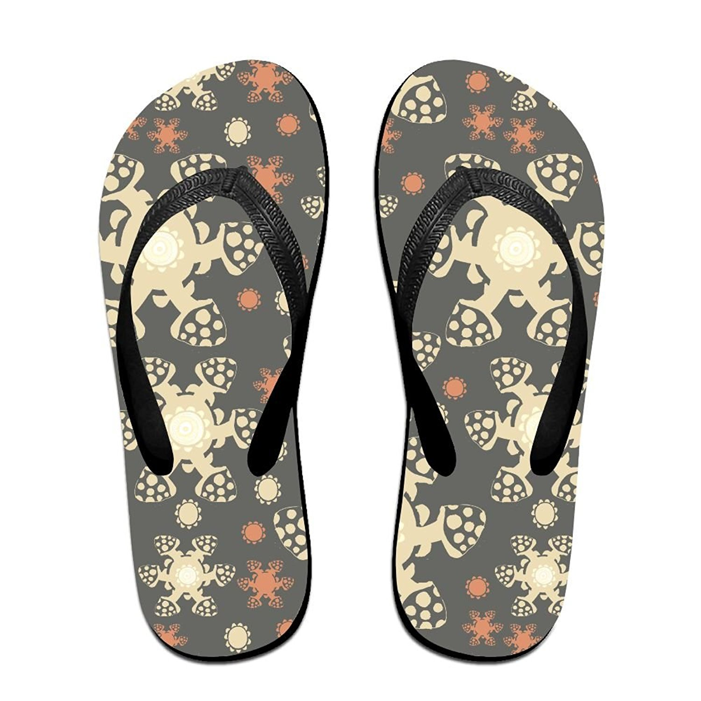 Mans Slipper Sunflower Black Background Stylish Memory Foam Open Toe Flat Beach Flip Flops