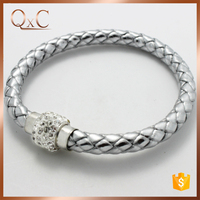 Silver leather bracelet men wholesale with ceramic beads, magnetic clasp leather wrap bracelet