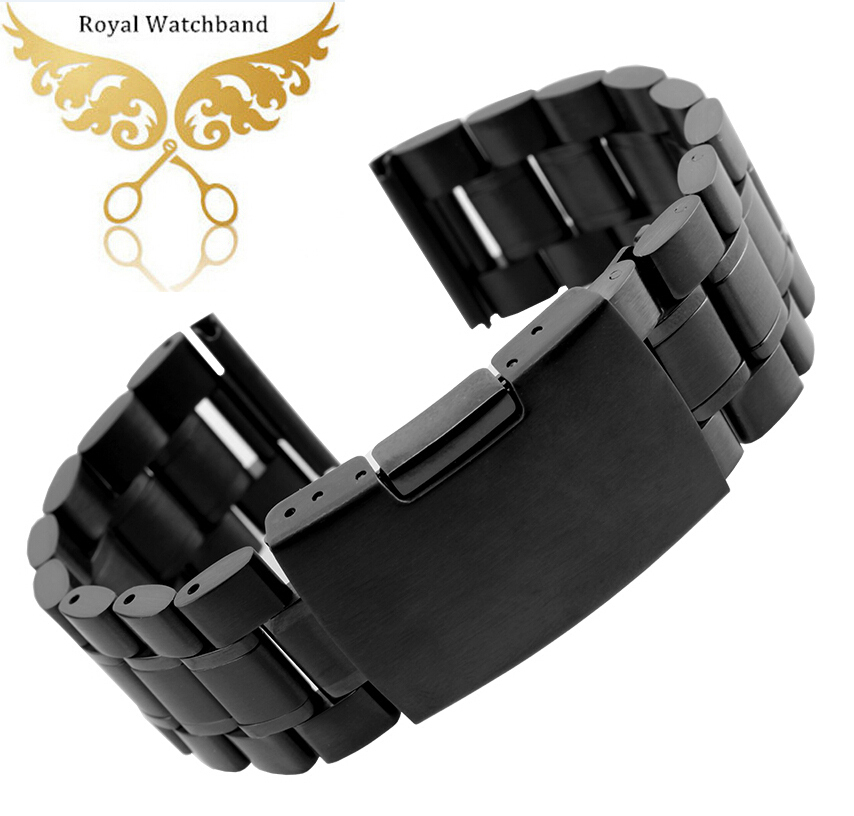 a3fe930a290 Get Quotations · 14mm 16mm 18mm 20mm 22mm 24mm 26mm Black New Mens Black  Metal Watch Band Stainless Steel