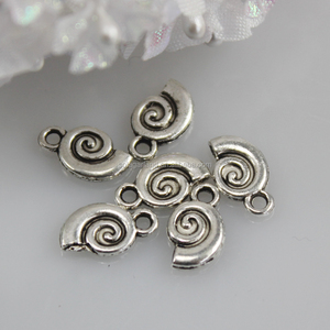 cheap stainless steel Antique Silver sea snail shell beads metal pendant for jewelry Making