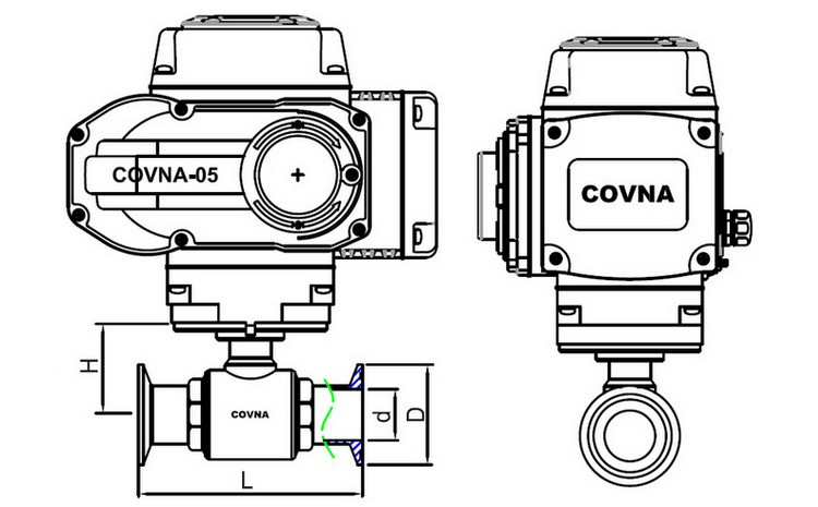 covna dn25 1 inch 2 way 110v ac food grade sanitary 316 stainless steel electric motorized ball