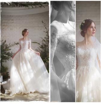 Wholesale Romantic Strapless Neckline Wedding Dress Three-quarter ...