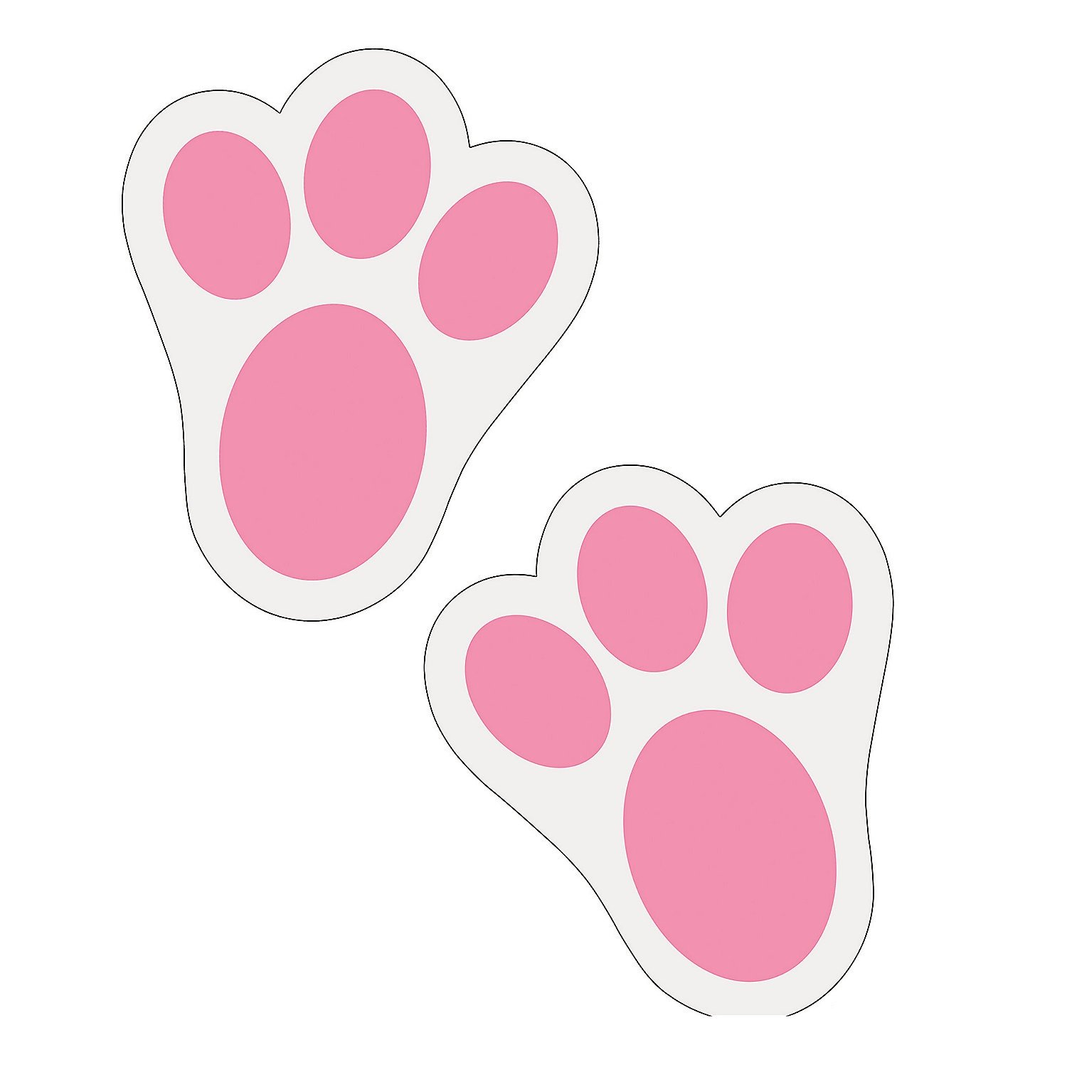Fun Express Pink Bunny Paw Print Floor Decal Clings - 12 Pieces
