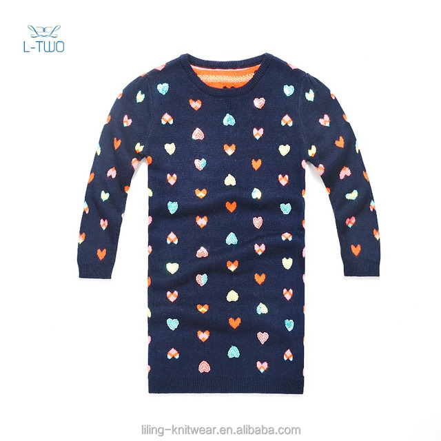 kids sweater dress/children girls' round neck plain knitting fashion dress with heart jacquard