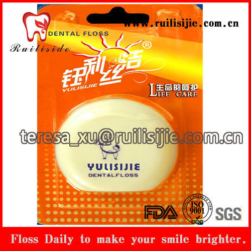 FDA approved waxed unwaxed dental floss 50 meters PTFE Nylon Polyester yarn