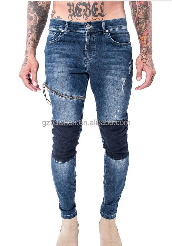 New Design sustom wholesale washed ripped jeans skinny for mens with zipper