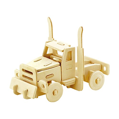 PONTE COLLECTION Wooden 3D Puzzles Truck Kit Build Car Wooden Truck Kit Car Model World Puzzle 20-pcs Wood Puzzle Car Model Kit (American Truck)